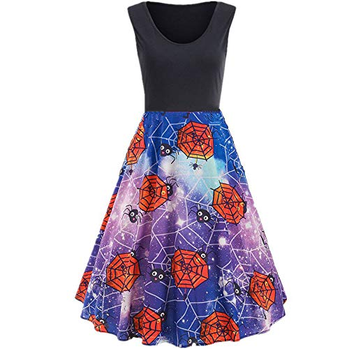 ThsiJJ Halloween Womens Sleeveless Dresses Spider Web Printed Cocktail Party Swing Vintage Dress Masquerade Black Dress -