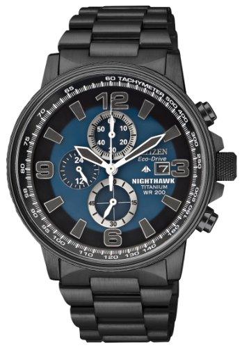 Citizen Watch Nighthawk Men's Quartz Watch with Blue Dial Chronograph Display and Black Titanium Bracelet CA0505-57L (Citizen Quartz Bracelet)