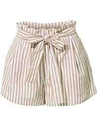 Womens Casual High Waisted Self Tie Striped Linen Summer Shorts