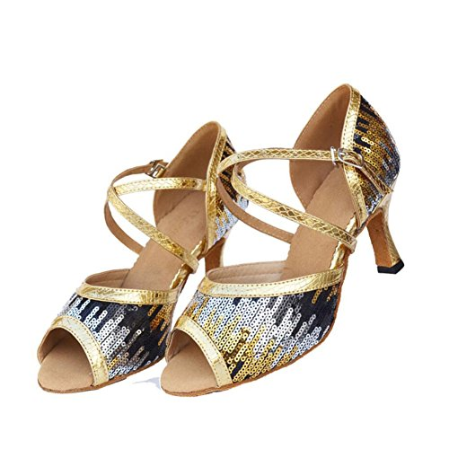 XUE Women's Latin Shoes Sparkling Glitter/Suede Sandal/Heel Indoor Sparkling Glitter Party & Evening Dance Shoes Flash Gold, Flash Blue (Color : A, Size : 33) B