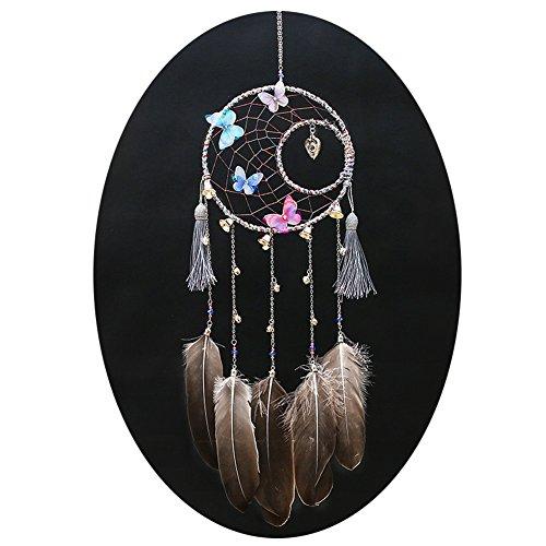 Qingsm Handmade Antique Bells Exquisite Heart Butterfly Moon Dream Catcher Home (Butterfly Dreamcatcher)