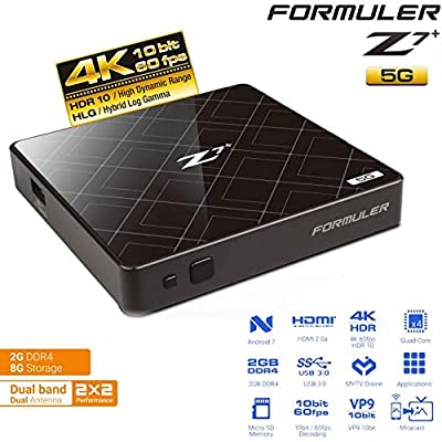 Formuler Z7  plus Dual Band Android WiFi OTT Box Nougat and Bluetooth  Black