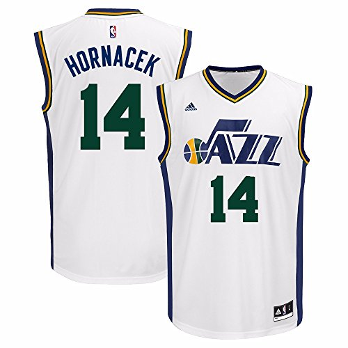 (adidas Jeff Hornacek Utah Jazz NBA Men's White Replica Jersey (L))