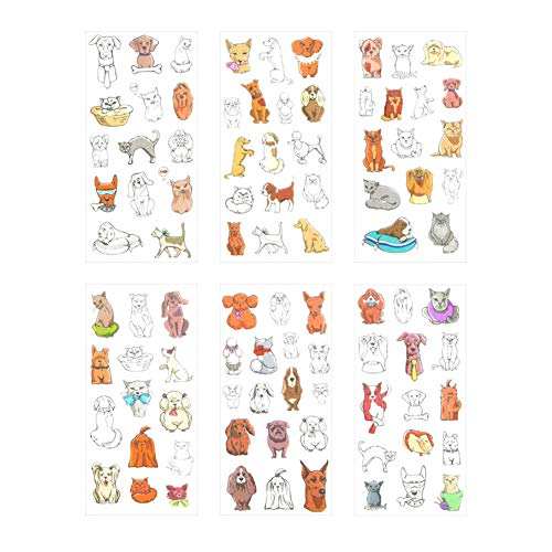 Qinlee 6 Sheets Pet Collection Washi Planner Sticker Cute Dog Cat Stickers Decorative Sticker Collection for Scrapbooking, Calendars, Arts, Kids DIY Crafts, Album, Bullet Journals