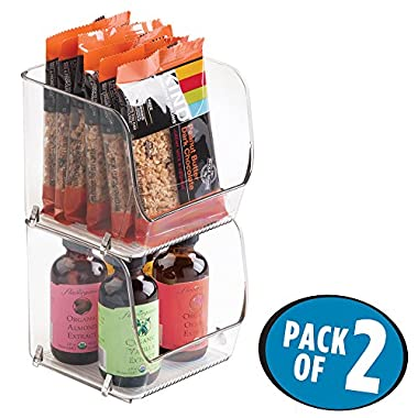 mDesign Stacking Organizer Bins for Kitchen, Pantry, Office, Bathroom - Pack of 2, Small, Clear