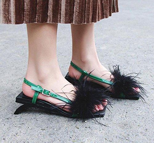 Zapatos de Verde caseros Las la Mujeres la los Perfil DANDANJIE de de Zapatillas del Talones cómodas Dulces de Calle Las Moda la Sandalias de con de Zapatos Juventud los fUAqwE