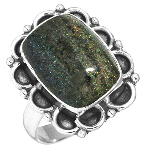 Natural Honduran Black Matrix Opal Gemstone Unique Jewelry Solid 925 Sterling Silver Ring Size 6.5