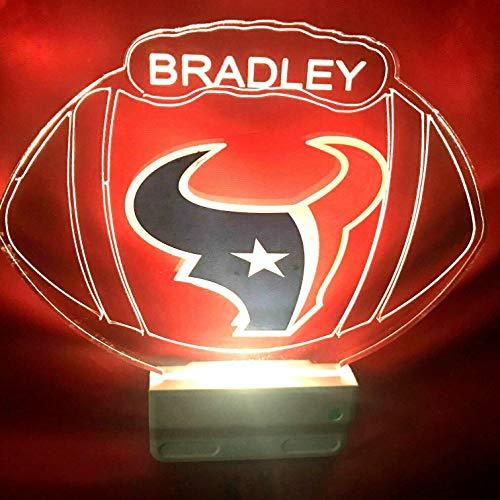 Houston Texans NFL Football Night Light Multi Color Personalized LED Plug-in, Ultra-Slim -