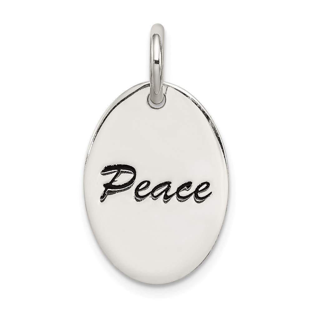Jewelry Stores Network Peace Black Word Charm in 925 Sterling Silver 18x13mm