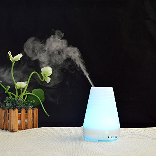 US Plug Anself 100ml Air Humidifier Aroma Diffuser Fragrance Sprayer Office Purifier Ultrasonic Mist Maker with Colorful LED Light 15W