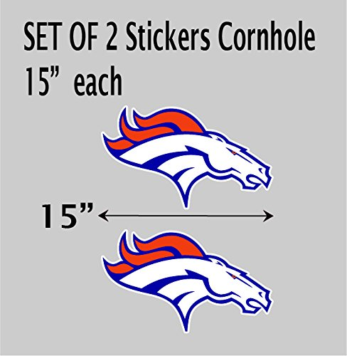 "2 Denver Broncos NFL vinyl sticker decal for cornhole 15""x9""each"