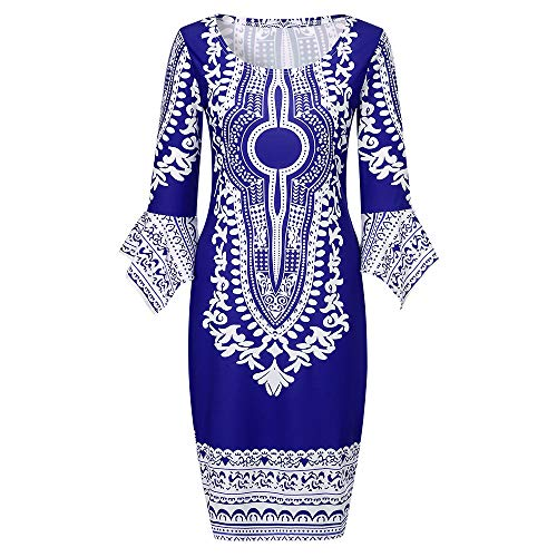 EOWEO Dress Skirt,2019 Anniversary Celebration Women Fashion Print Bell Sleeve Round Neck Slim Fit Dress(Medium,Blue) ()