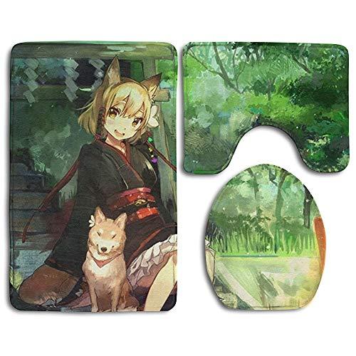 Zhongc99bu Girl and Dog Green Nature Anime Non Slip Antistatic 3 Piece Bathroom Rug Set Bath Mat Contour Mat Toilet Lid Cover Non-Slip Bathroom -