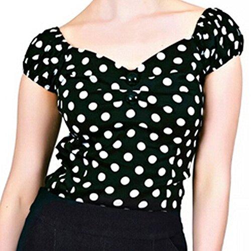 [Jinshida Women's Retro Polka Dots Rockabilly 50's Blouse Shirt Black M] (Rockabilly Retro Shirt)