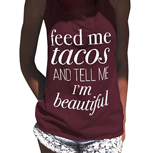 Fheaven Womens Feed Me Tacos Vest Sexy Sleeveless Vest Blouse T-Shirt Tank Crop Tops (L, Wine) - Taco Shirt Button Down