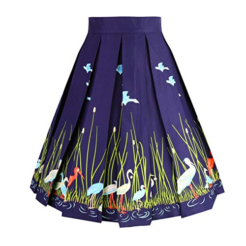 Dresstore Vintage Pleated Skirt Floral A-line Printed Midi Skirts with Pockets Navy Flamingo-S