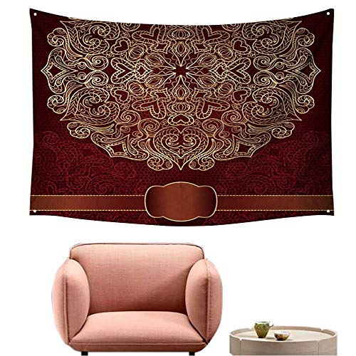 alsohome Bedroom Tapestry Wall Hanging Square Tapestry for Living Room Gift Card with Gold Ornament Round The Idea for Wedding Cards Or Invitations Raster Copy 80