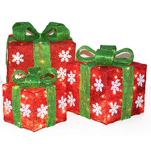 Christmas Lighted Gift Box Décor, Small Medium and Large Present Boxes Best Yard/Home Décor