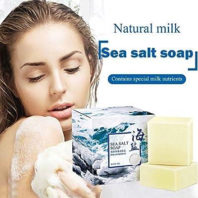 Gracefulvara Sea Salt Sulfur Soap, Oil control Whitening Handmade Soap for All Skin Types, Problem Skin - Acne, Eczema, Psoriasis, Natural, Therapeutic, Antibacterial - 3.5 oz