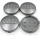 Automelody 4pcs A Set Of Wheel Center Caps Hubcap For Audi A3 A4 A5 A6 A8 Allroad Quattro RS6 S4 S5 S6 TT (silver)