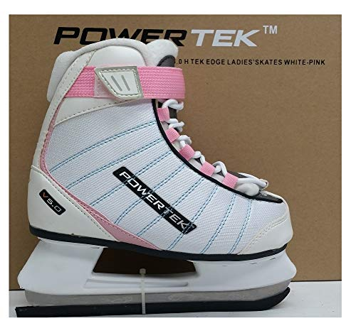 V5.0Tek Edge Ladies Figure Skates White/Pink (JR3) by PowerTek