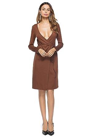 b6426e53160e Amazon.com  ONine Women s Deep V Neck Long Sleeve Wrap Dress Solid ...