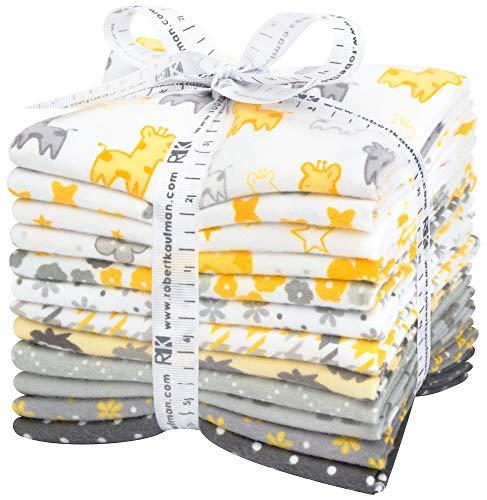 Cozy Cotton Flannel Yellow/Grey 12 Fat Quarters Robert Kaufman Fabrics FQ-1531-12