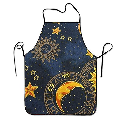 FnLiu personalized Sun Moon Stars aprons printed apron for Server Cooking BBQ