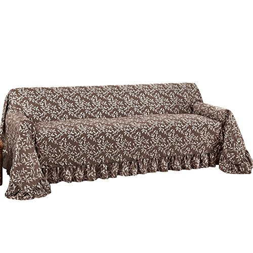 Collections Etc. Leaf Patterned Furniture Cover with Ruffle Borders, Furniture Protector with Leaf Design, Chocolate, Sofa 3 Piece Brown Floral Cushions