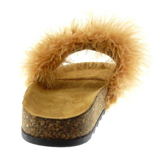 Angkorly Damen Schuhe Sandalen Mule - Slip-On - Feder - Kork Flache Ferse 2.5 cm Camel