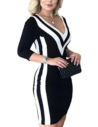 5e449611b52 MISOMEE Women Contrast Color Striped Tape Bodycon Dress at Amazon Women s  Clothing store