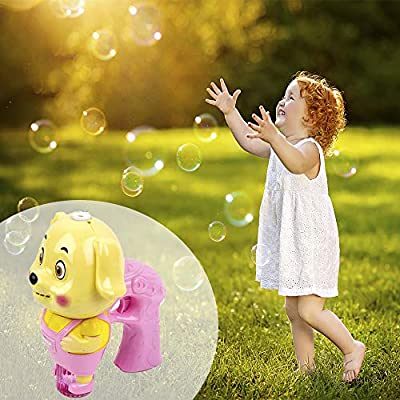 Toysery Dog Bubble Gun Shooter Light Up Blower, Bubble Gun Machine Indoor and Outdoor Toys for Kids Boys Girls and Toddlers, Simple and Easy to Use Party Bubble Toys with Bubble Solution – Pink: Toys & Games
