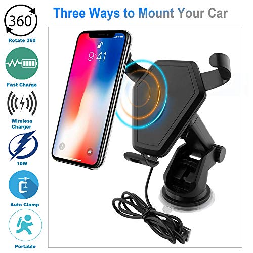 Wireless Car Charger, Fast Qi Phone Charge Holder for Air Vent Cradle, Windshield and Dashboard Mount for iPhone X/8/8 Plus, Samsung Galaxy Note 8/5,S8+,S7,S6 Edge+,Compatible with All Qi-Enabled