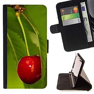 Momo Phone Case / Flip Funda de Cuero Case Cover - Macro de la fruta de la cereza de la hoja - Samsung Galaxy J1 J100