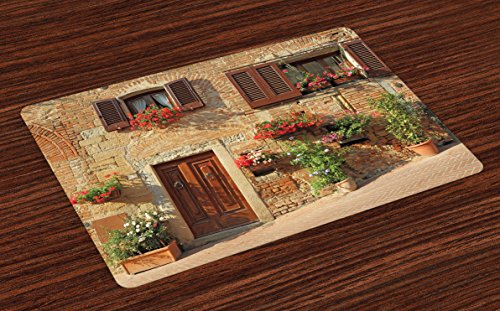 Lunarable Tuscan Place Mats Set of 4, Picturesque Lane with Mediterranean Architecture Flowers Italian Town, Washable Fabric Placemats for Dining Room Kitchen Table Decoration, Brown Pale and Brown