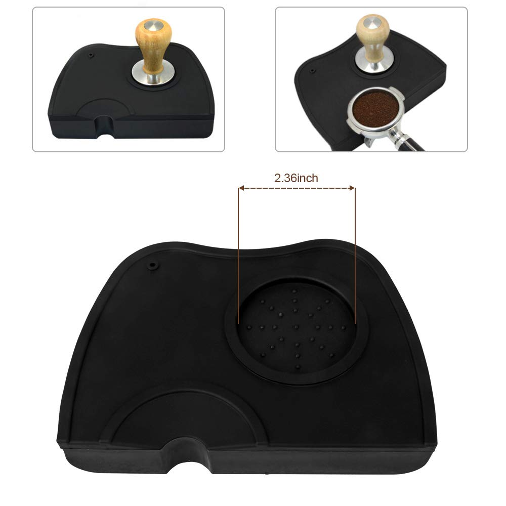 B07VT533C3 Espresso Tamper Mat, Food Safe Silicone Coffee Tamp Mat Anti-Slip, Corner Tamping Pad Non-Slippery Soft Odorless Holder Pad Black for Barista Tool Home Kitchen Office Bar Shop Worktop by BooTaa 51IuEPYiivL