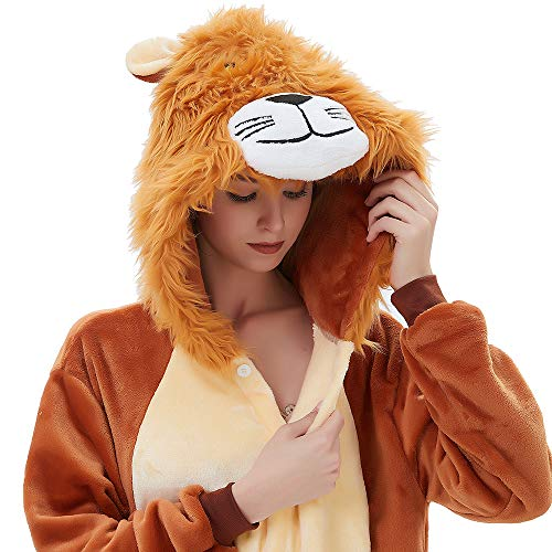 ABENCA Zip up Fleece Onesie Pajamas for Women Adult Cartoon Animal Christmas Halloween Cosplay Onepiece Costume, Lion, XL