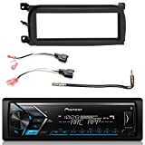 Pioneer Single DIN Bluetooth AM FM USB AUX Digital Media Car Stereo w/ Built-in Amp, Enrock Single-DIN Dash Kit , Metra 2 Pin Rectangular Speaker Connector, Antenna Adapter (Select 2001-2009 Vehicles)