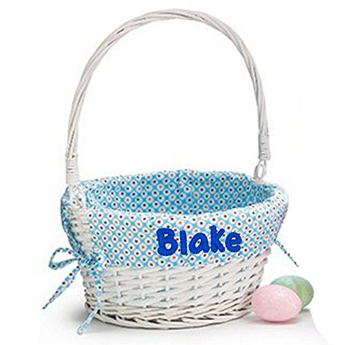 Easter Basket Custom Embroidered with Name on Basket Liner (Blue)