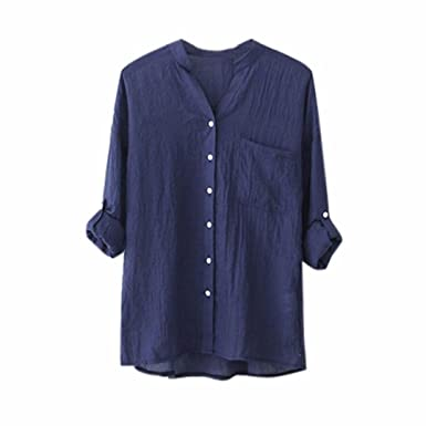 feeb1c163f5664 WWricotta Oversize Oberteile Frauen Bluse Stehkragen Shirt V-Ausschnitt  Langarm Tunika Tops Casual Hemd mit Tasche Große Größen M-5XL: Amazon.de:  Bekleidung