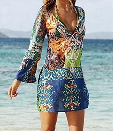 Damen Kleider ININUK Damen Tief V Ausschnitt Langarmig Strandkleid Elegante Boho Sommerkleid Minikleider Blumendruck Blusenkleider