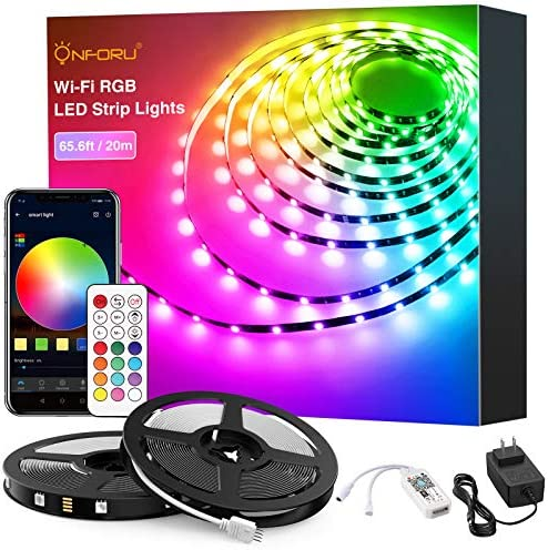 Onforu 65.6ft Smart WiFi LED Strip Lights, 20m RGB Light Strip Compatible with Alexa, Google Assistant, Dimmable Colored LED Light Strip by way of App Control, Music Synchronize Color Changing Tape Lights