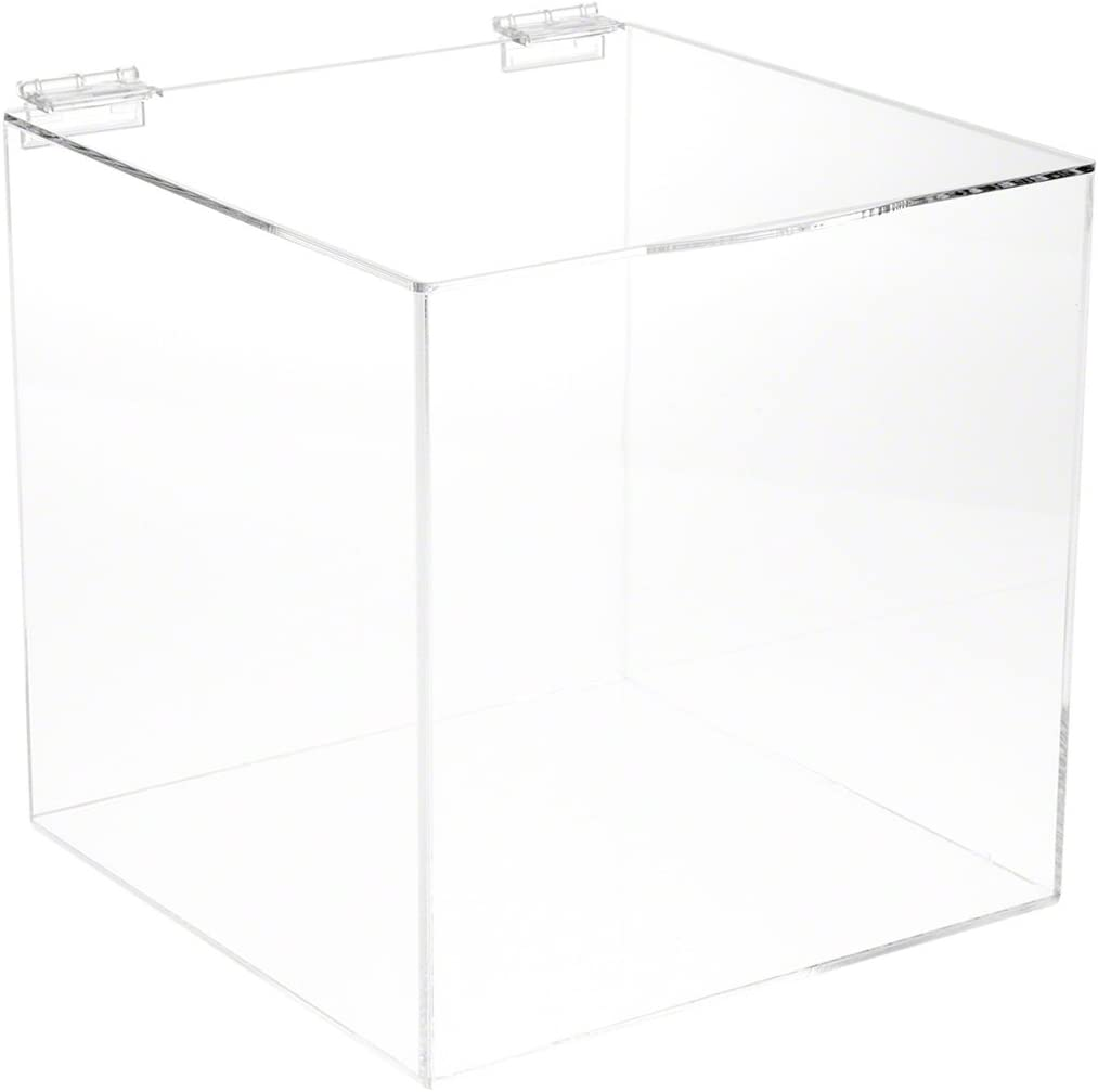 8 x 8 x 8 Plymor Clear Acrylic Display Case Box with Hinged Lid