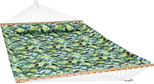 Sunnydaze 2-Person Quilted Printed Fabric Spreader Bar Hammock and Pillow – Large Modern Cloth Hammock with Metal S Hooks and Hanging Chains – Heavy Duty 450-Pound Weight Capacity – Tropical Greenery
