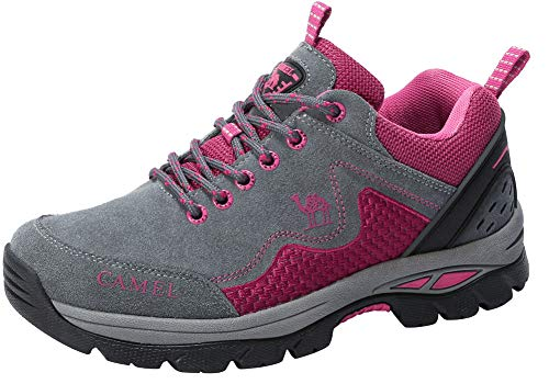 CAMEL CROWN Womens Hiking Shoes Non Slip Lightweight Mountain Bike Climbing Walking Trail Running Shoes Gray Red 36