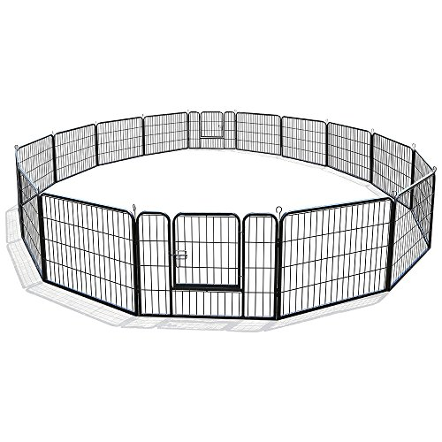 Dog Pen Metal Fence Gate Portable Outdoor RV Play Yard | Heavy Duty Outside Pet Large Playpen Exercise | Indoor Puppy Kennel Cage Crate Enclosures | 24