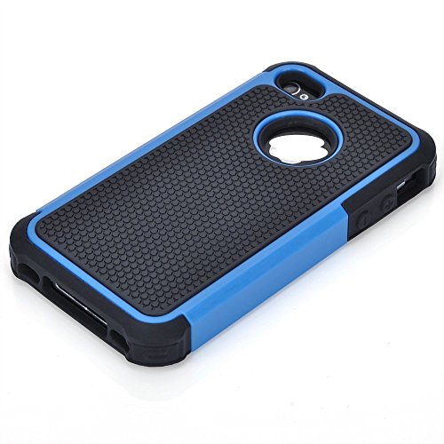 Tuff Box Cases (TCD New Blue & Black Executive Armor Defender High Impact Combo Hard Soft Gel Case Cover Skin Body for Apple iphone 4 4G 4S Generation (AT&T, Verizon, Sprint))