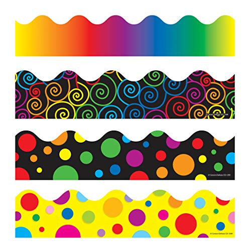 Carson-Dellosa Scalloped Borders Variety Set - IV, 2-1/4 in X 3 ft, Set of 4 (Cd Bulletin Boards Bright)