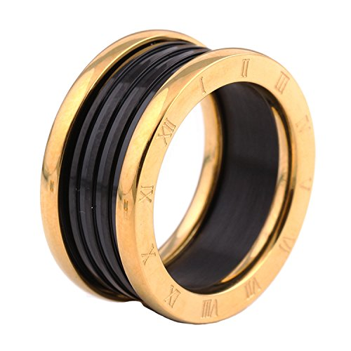 Lilileo Jewelry 11Mm 2 Color Gold And Black Plating Roman Numerals Scrub Ring For Womens Rings