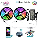 LUNSY RGB LED Strip lights 32.8 Foot/10 Meter, Wifi Alexa Light Strip with Remote, Waterproof IP65, Dimmable, Wireless Smart Phone Control